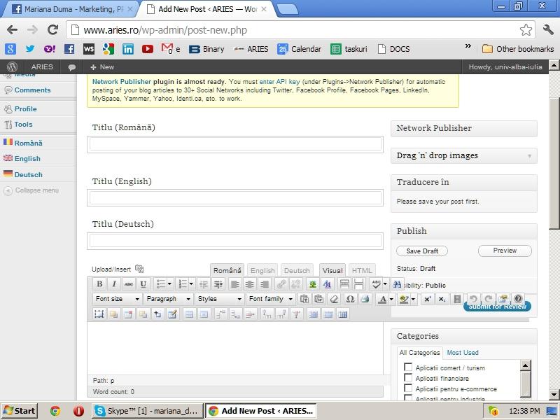 Titlurile browser-ului in cele 3 limbi, Permalink-ul, Meta in 3 limbi, Categorii